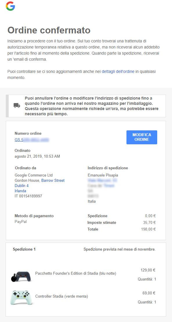 Email di conferma ordine da Google. In questa fase riceverete solo una preautorizzazione dell'importo che sarà poi sbloccato al momento della spedizione
